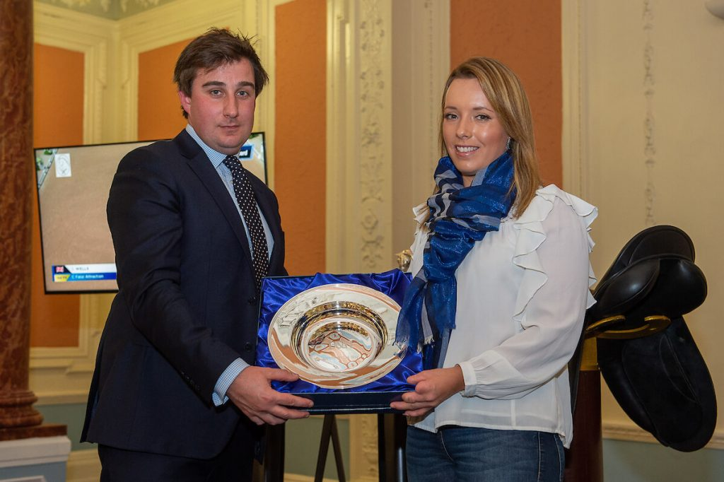 Sophie Wells receives the Para-Dressage award from Sam Horrell, © Jon Stroud Media